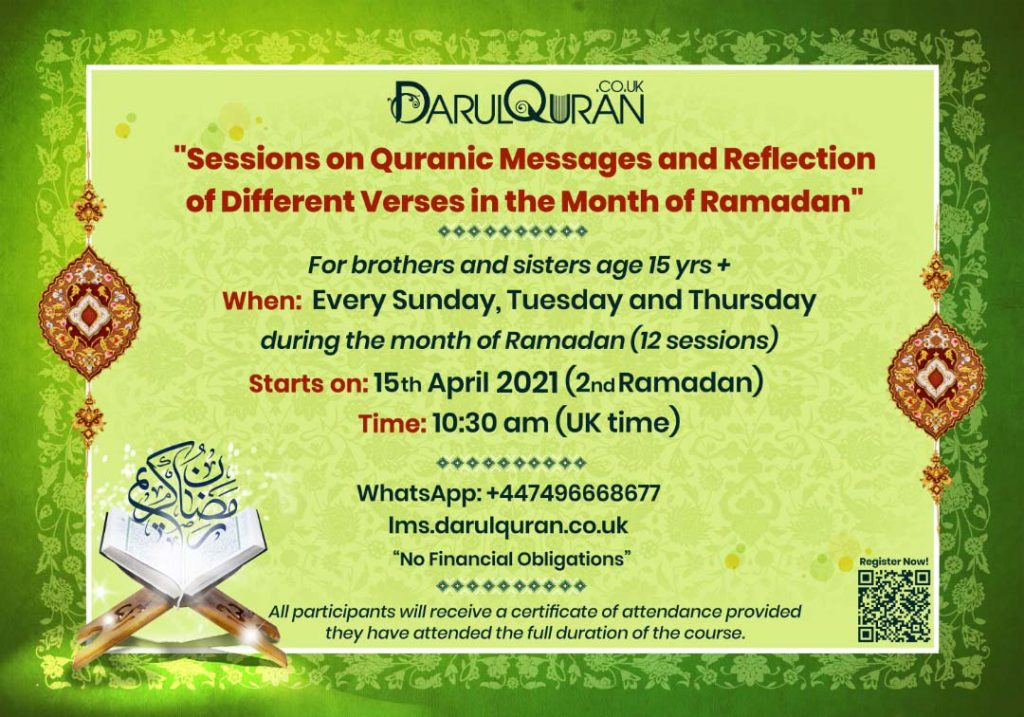 Sessions on Quranic Messages and Reflection of Different Verses in the Month of Ramadhan